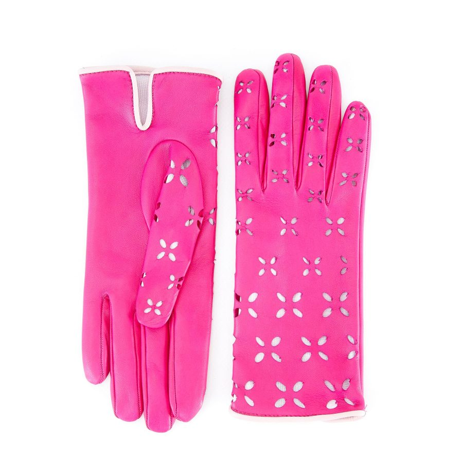 Women's pink nappa leather gloves with laser cut petals detail and polyamide lining