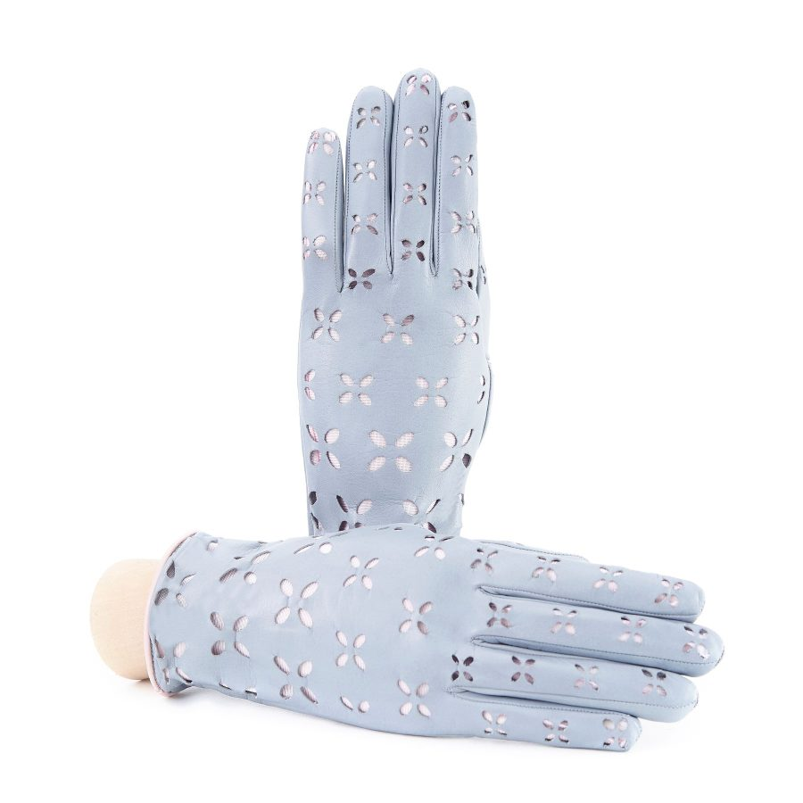 Women's grey nappa leather gloves with laser cut petals detail and polyamide lining
