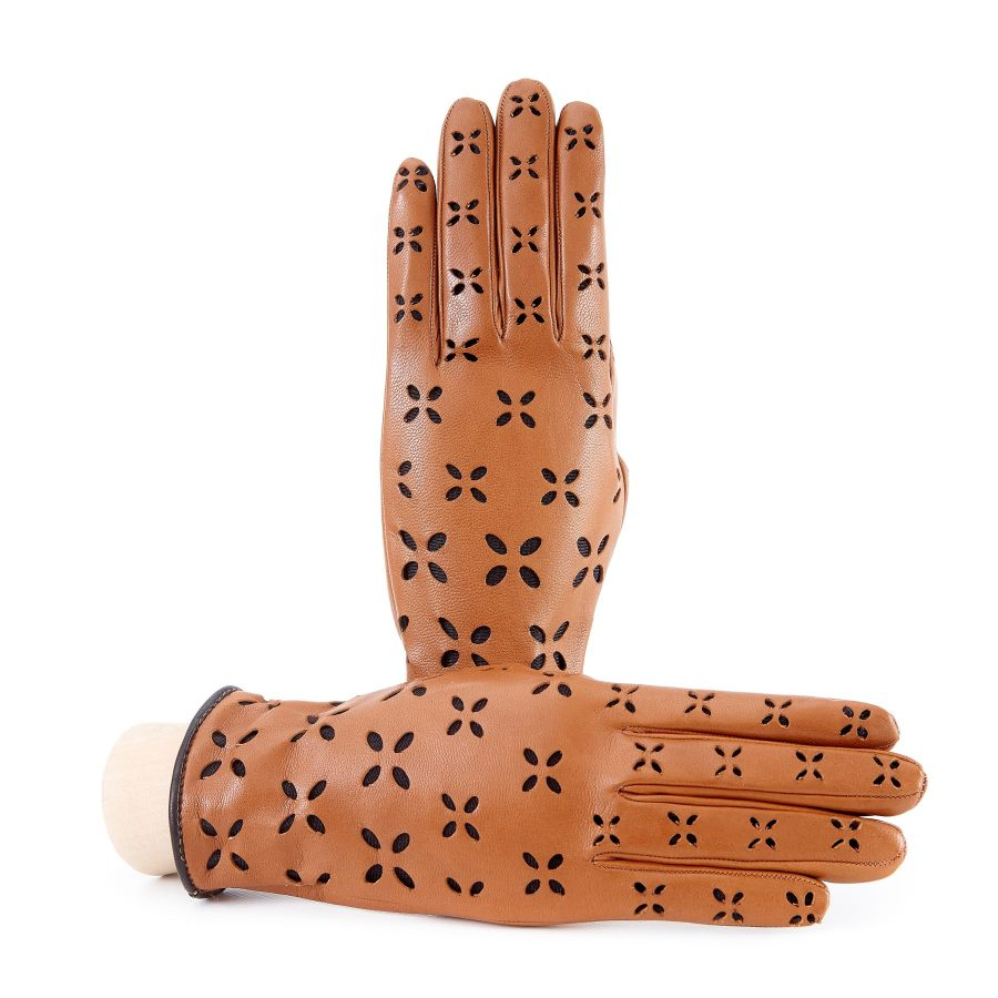 Women's camel nappa leather gloves with laser cut petals detail and polyamide lining