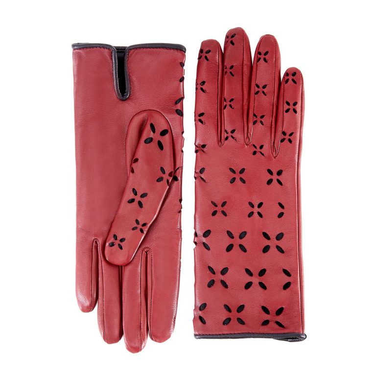 Women's rum nappa leather gloves with laser cut petals detail and polyamide lining