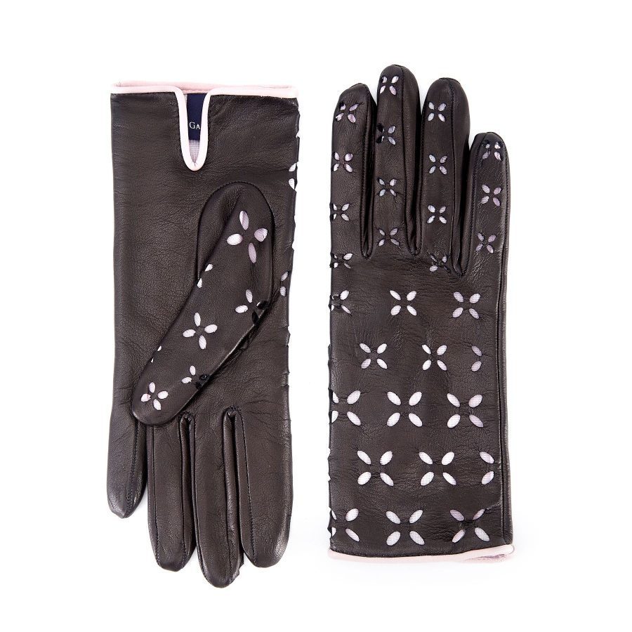 Women's black nappa leather gloves with laser cut petals detail and polyamide lining