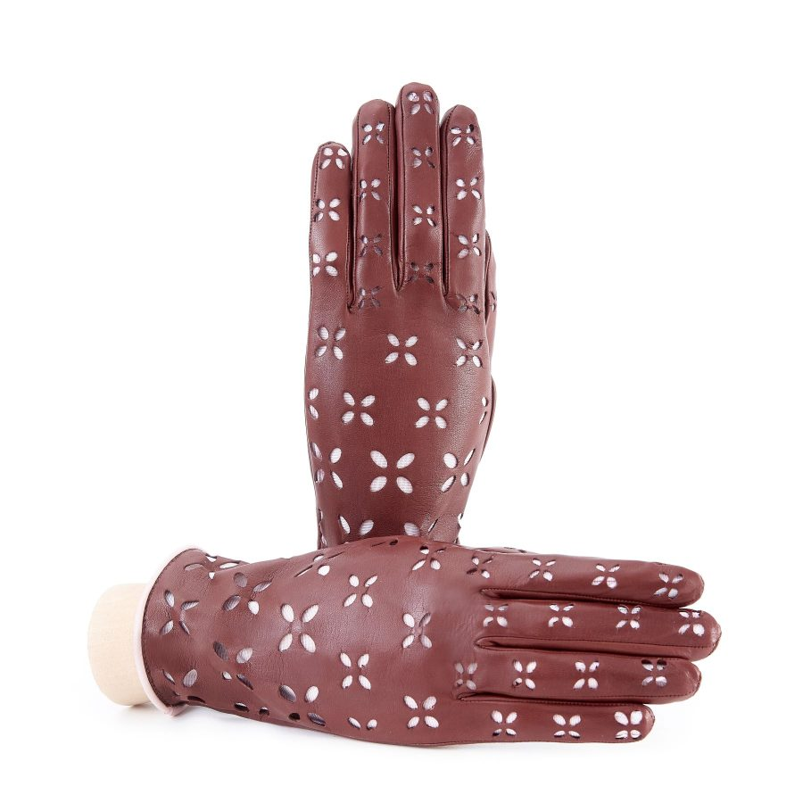 Women's light brown nappa leather gloves with laser cut petals detail and polyamide lining