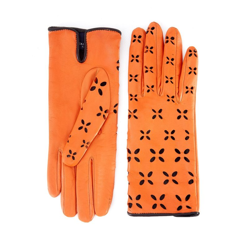 Women's orange nappa leather gloves with laser cut petals detail and polyamide lining