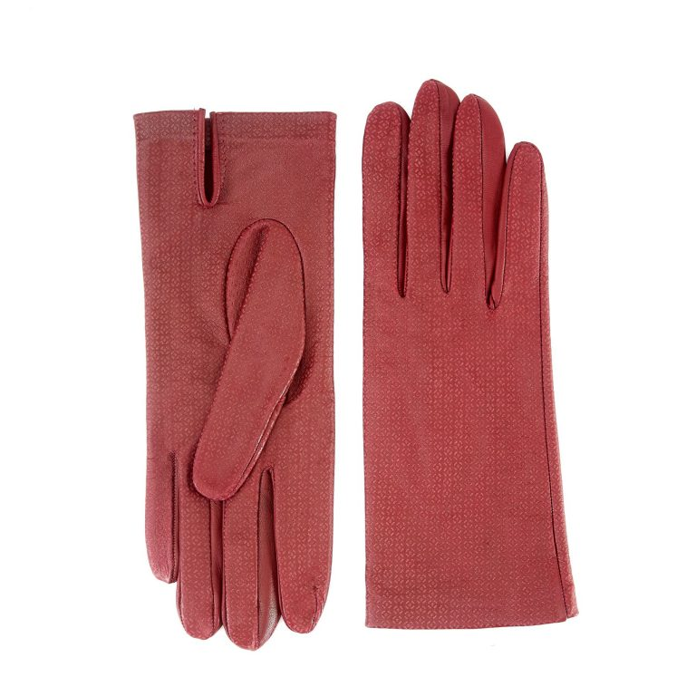 Women's unlined rum nappa leather gloves with all over laser cut detail
