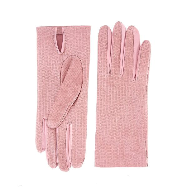Women's unlined pink nappa leather gloves with all over laser cut detail