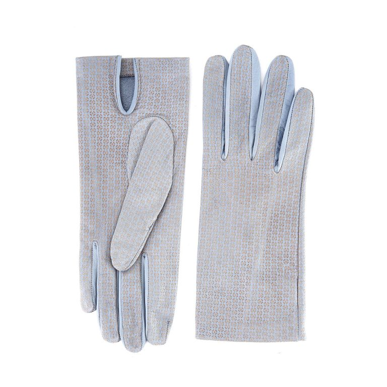 Women's unlined grey nappa leather gloves with all over laser cut detail