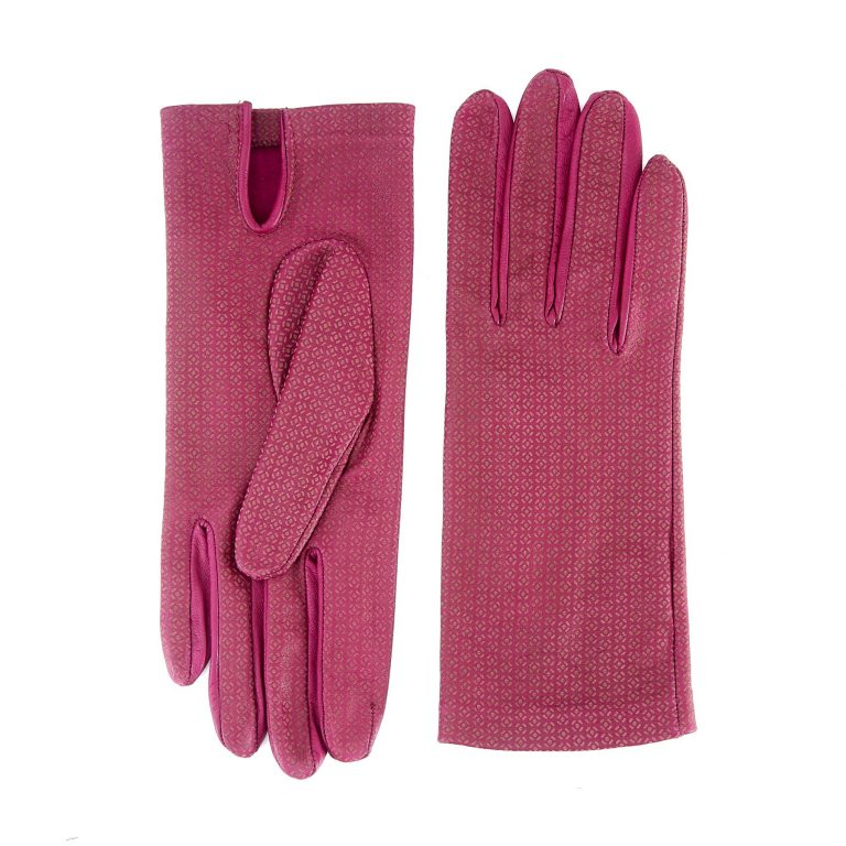 Women's unlined purple nappa leather gloves with all over laser cut detail