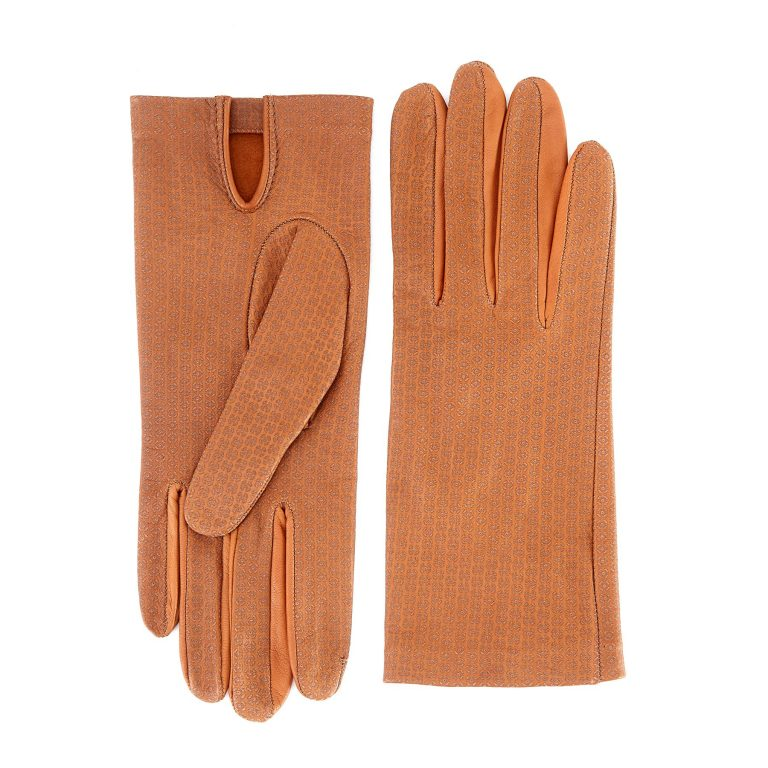 Women's unlined camel nappa leather gloves with all over laser cut detail