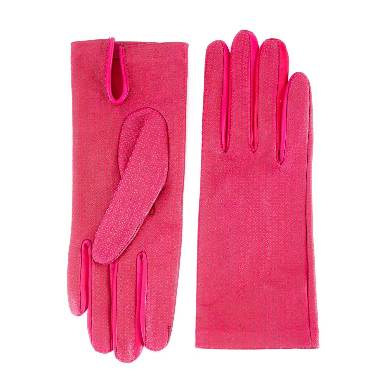 Women's unlined dark pink nappa leather gloves with all over laser cut detail