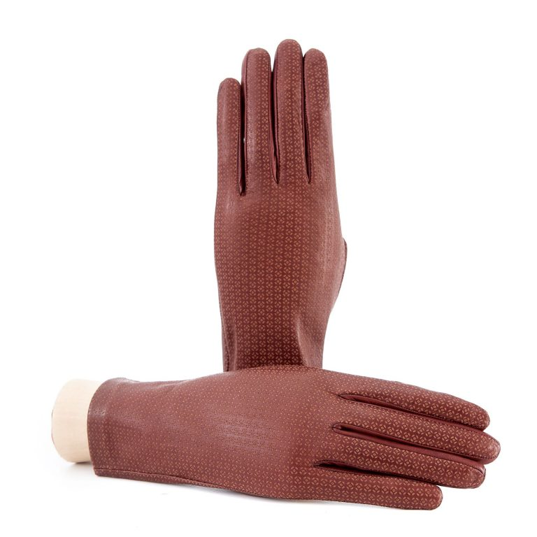 Women's unlined light brown nappa leather gloves with all over laser cut detail