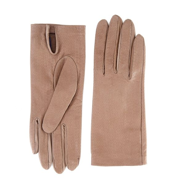 Women's unlined taupe nappa leather gloves with all over laser cut detail