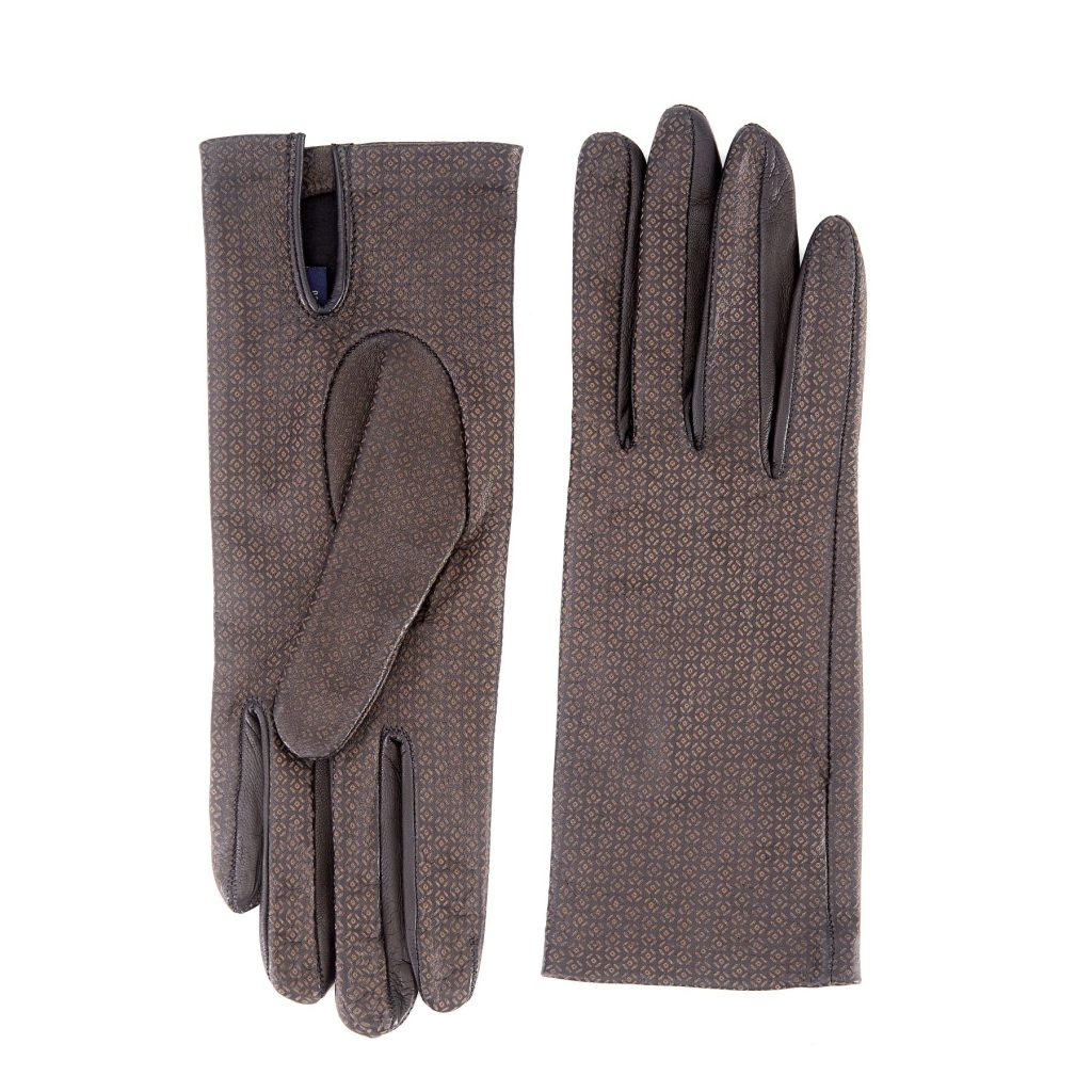 Women's unlined black nappa leather gloves with all over laser cut detail