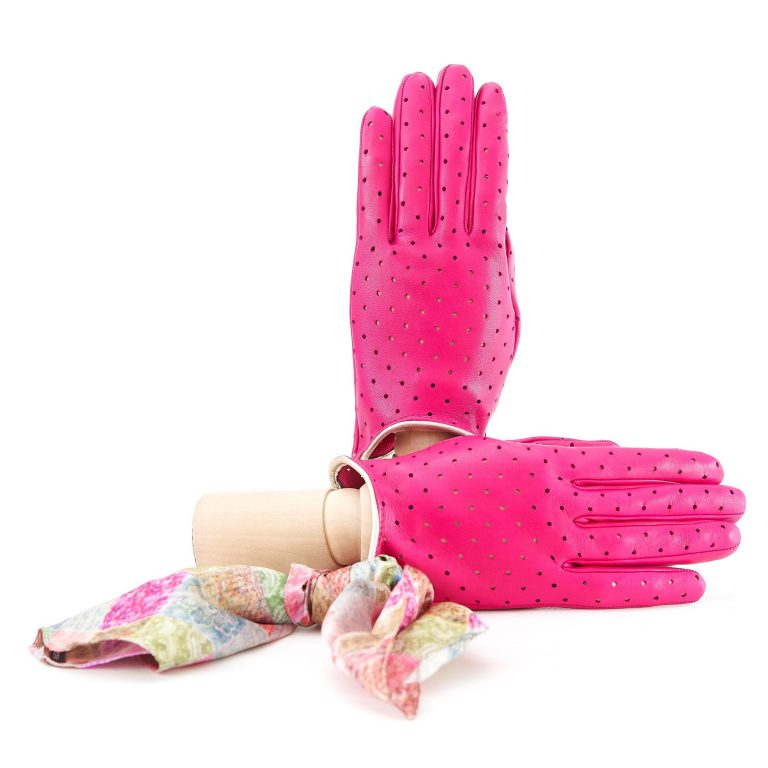 Women's unlined dark pink nappa leather gloves with perforated pois detail