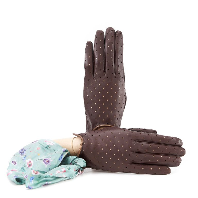 Women's unlined brown nappa leather gloves with perforated pois detail