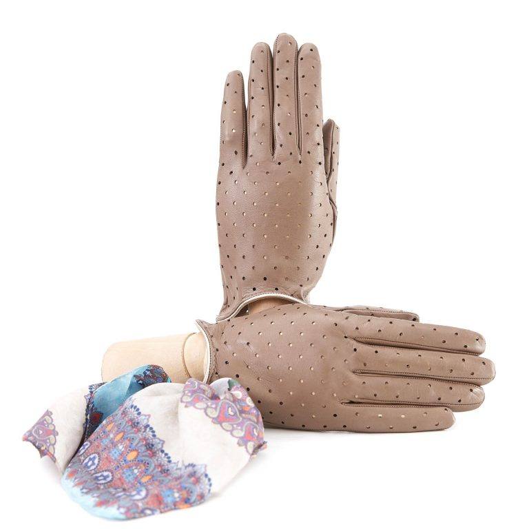 Women's unlined taupe nappa leather gloves with perforated pois detail