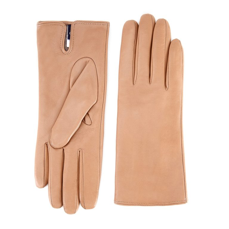 Women's basic alpaca soft nappa leather gloves with palm opening and mix cashmere lining