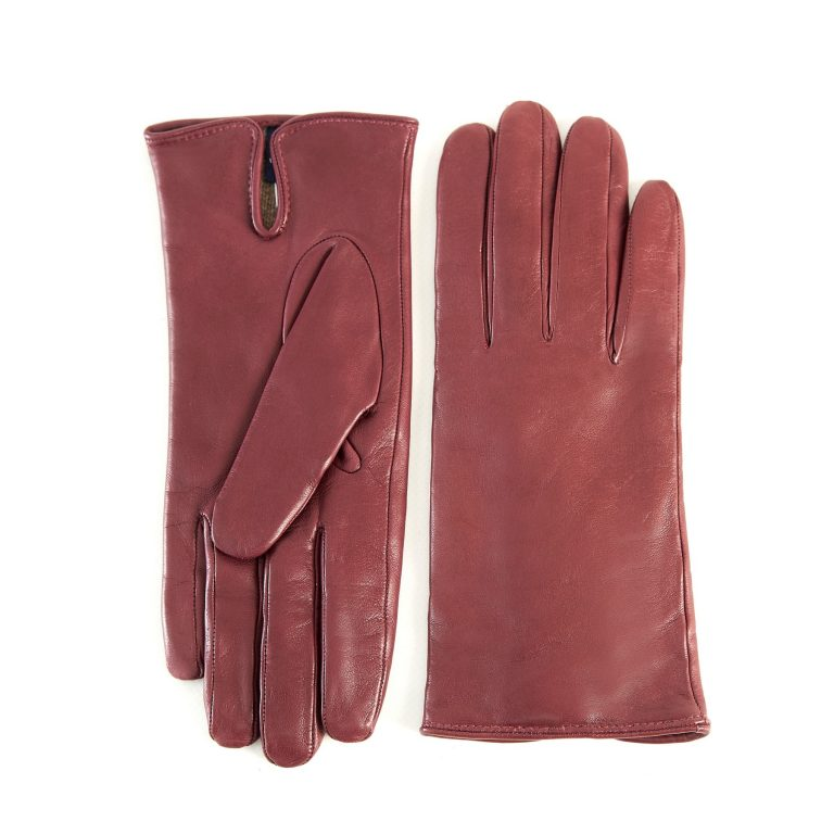 Women's basic begonia soft nappa leather gloves with palm opening and mix cashmere lining