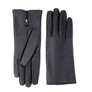 Women's basic black soft nappa leather gloves with palm opening and mix cashmere lining