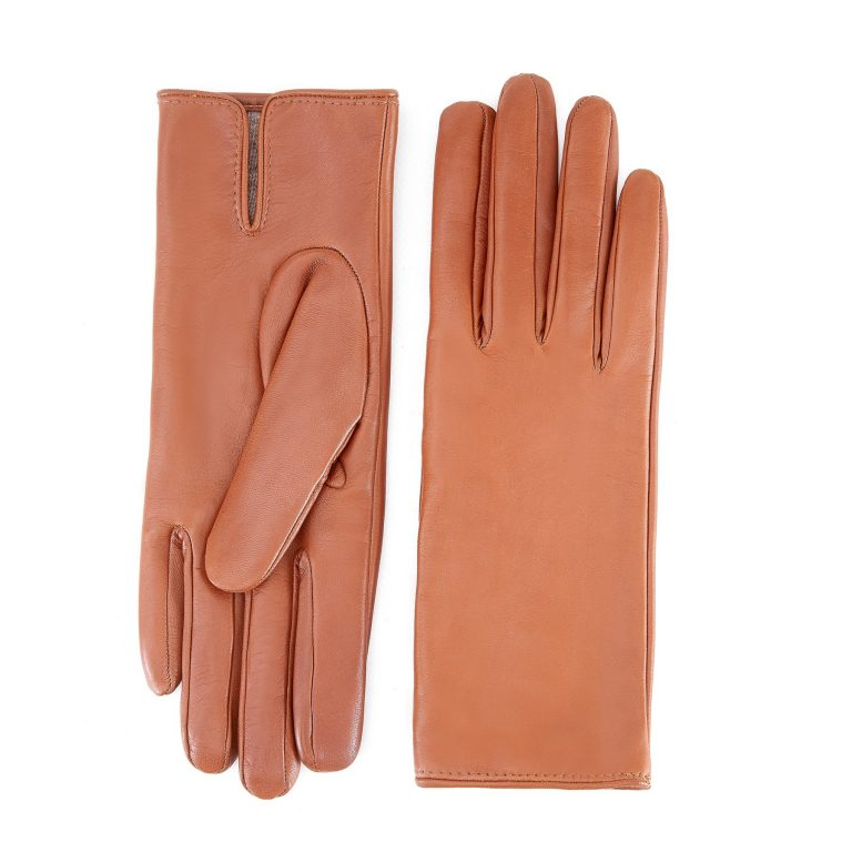 Women's basic camel soft nappa leather gloves with palm opening and mix cashmere lining