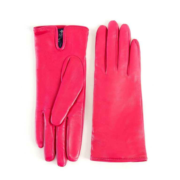 Women's basic deep pink soft nappa leather gloves with palm opening and mix cashmere lining