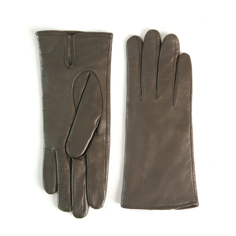 Women's basic mud soft nappa leather gloves with palm opening and mix cashmere lining