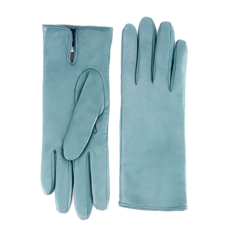 Women's basic green soft nappa leather gloves with palm opening and mix cashmere lining