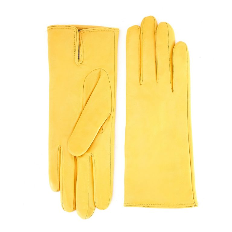 Women's basic yellow soft nappa leather gloves with palm opening and mix cashmere lining