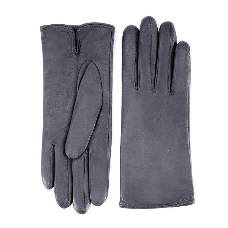 Women's basic grey soft nappa leather gloves with palm opening and mix cashmere lining