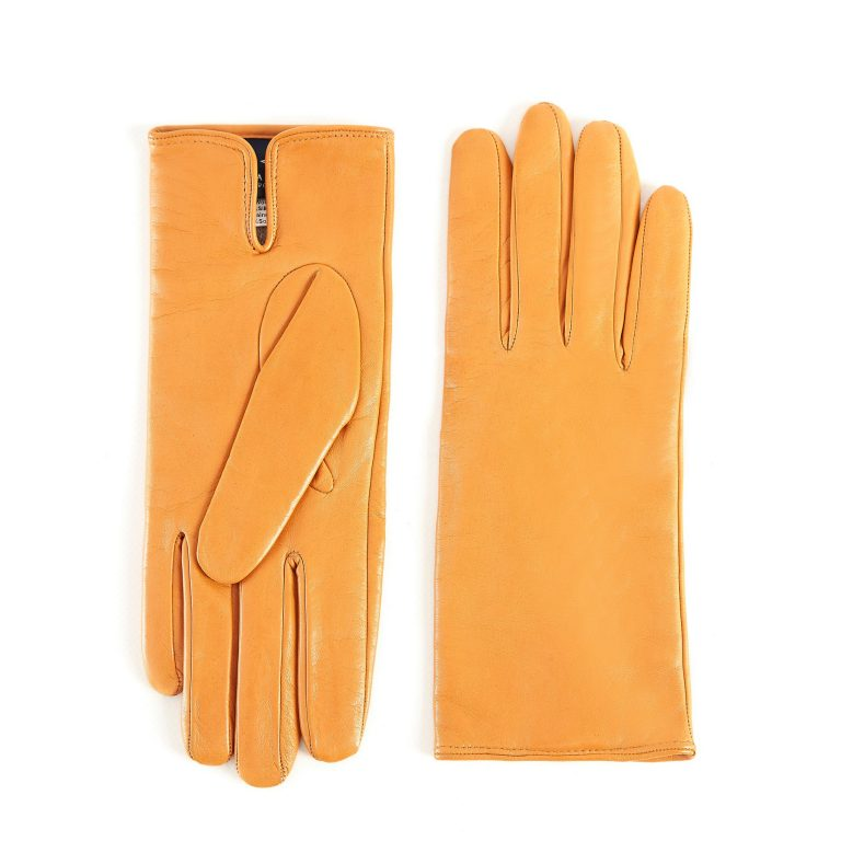 Women's basic light orange soft nappa leather gloves with palm opening and mix cashmere lining
