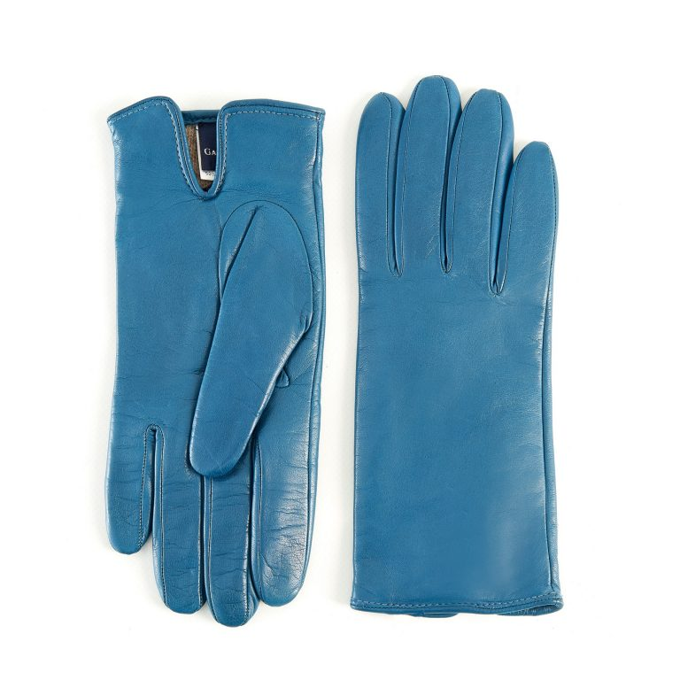Women's basic petrol soft nappa leather gloves with palm opening and mix cashmere lining
