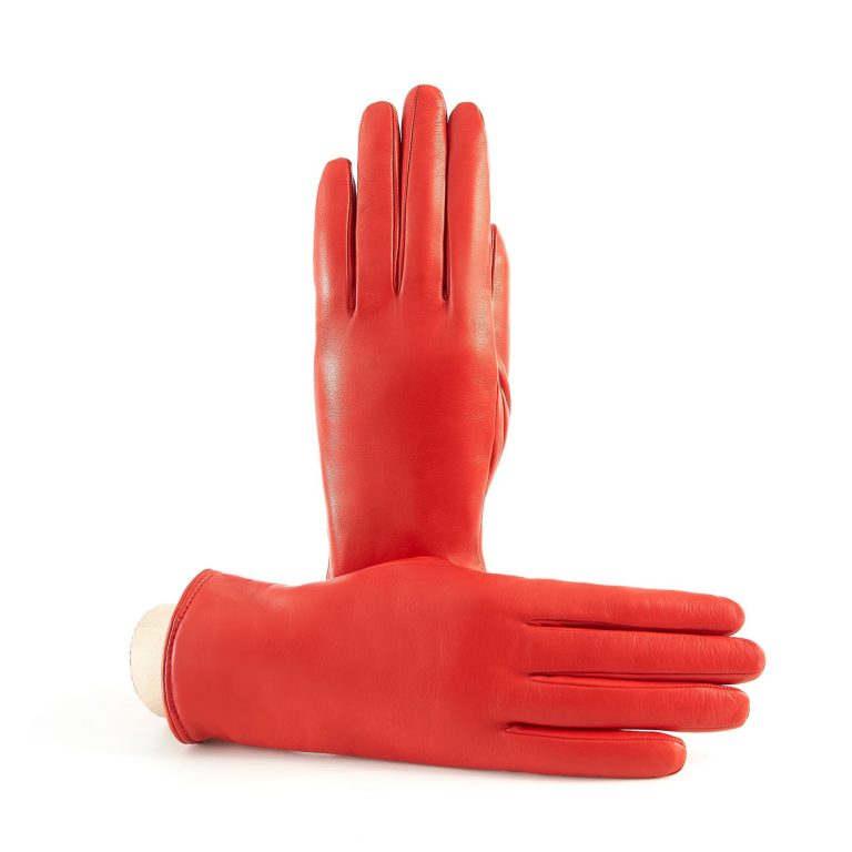Women's basic red soft nappa leather gloves with palm opening and mix cashmere lining