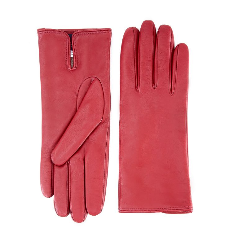 Women's basic rum soft nappa leather gloves with palm opening and mix cashmere lining