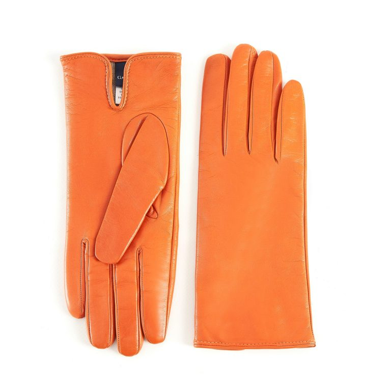 Women's basic orange soft nappa leather gloves with palm opening and mix cashmere lining
