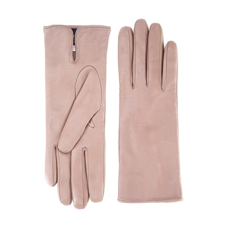 Women's basic taupe soft nappa leather gloves with palm opening and mix cashmere lining
