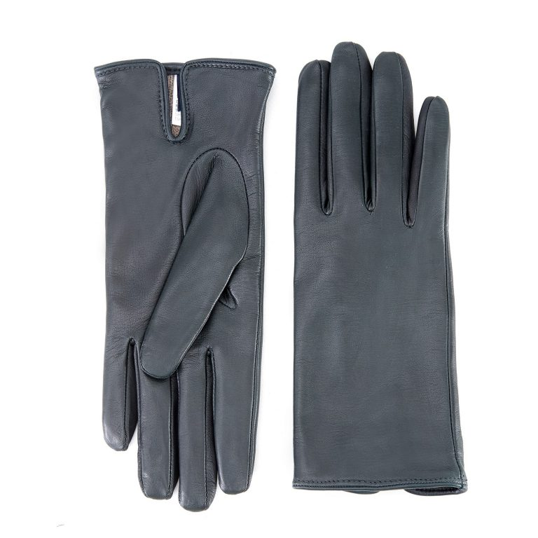 Women's basic forest green soft nappa leather gloves with palm opening and mix cashmere lining
