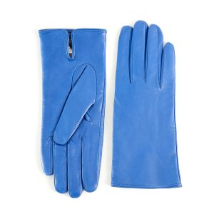 Women's basic light blue soft nappa leather gloves with palm opening and mix cashmere lining