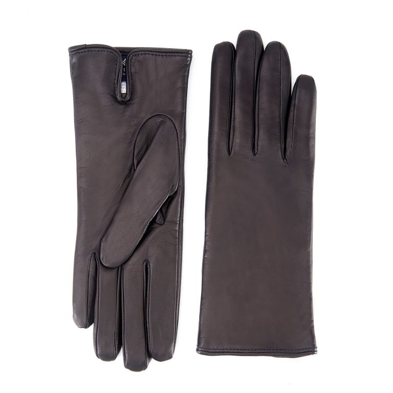 Women's basic brown soft nappa leather gloves with palm opening and mix cashmere lining