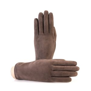 Women's basic mud soft suede leather gloves with palm opening and mix cashmere lining