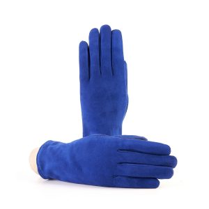 Women's basic blue soft suede leather gloves with palm opening and mix cashmere lining