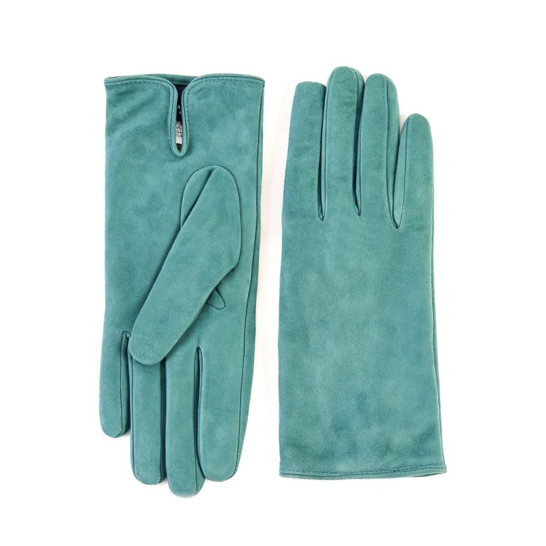 Women's basic green soft suede leather gloves with palm opening and mix cashmere lining