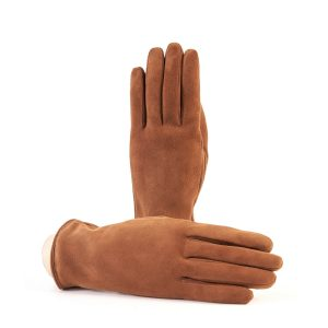 Women's basic tobacco soft suede leather gloves with palm opening and mix cashmere lining