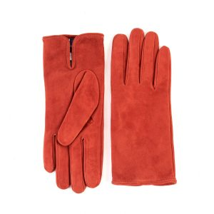 Women's basic orange soft suede leather gloves with palm opening and mix cashmere lining
