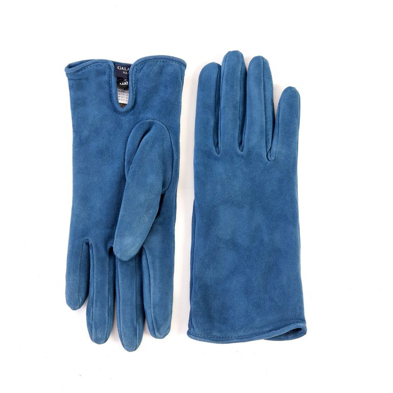 Women's basic petrol soft suede leather gloves with palm opening and mix cashmere lining