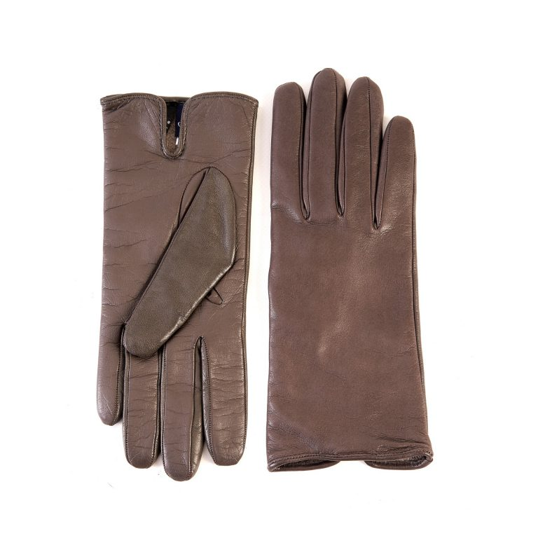Women's basic mud soft nappa touchscreen leather gloves with palm opening and mix cashmere lining