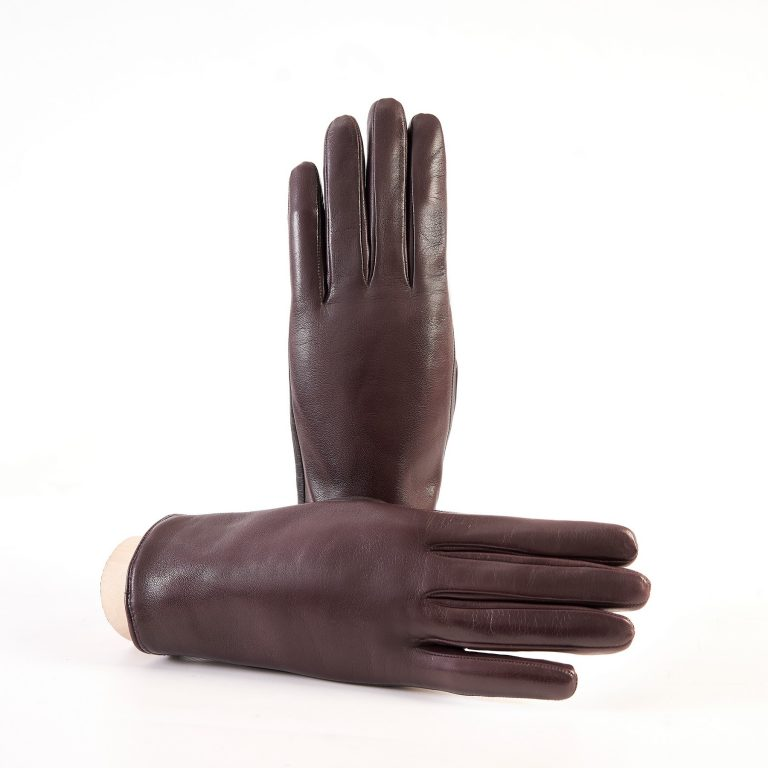 Women's basic bordeaux soft nappa touchscreen leather gloves with palm opening and mix cashmere lining