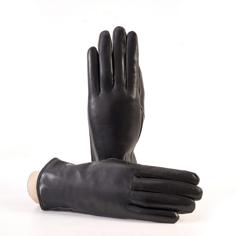 Women's basic black soft nappa touchscreen leather gloves with palm opening and mix cashmere lining