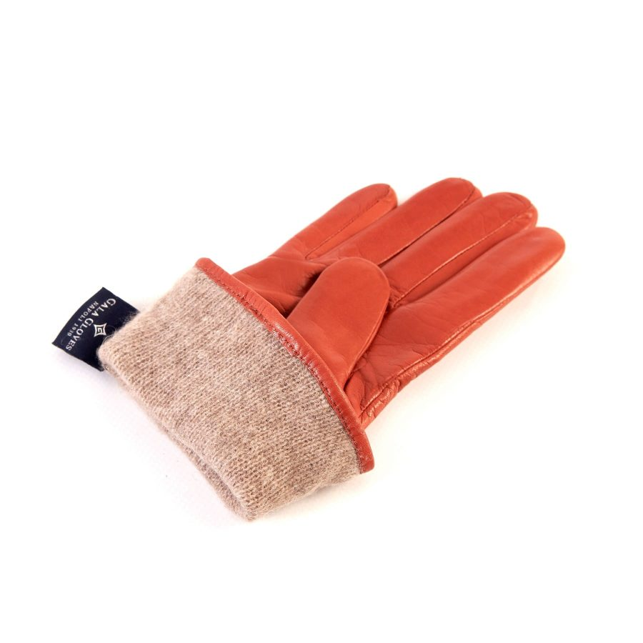 Women's orange nappa leather gloves with suede panel insert on top cashmere lined