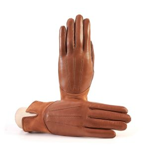 Women's camel nappa leather gloves with suede panel insert on top cashmere lined