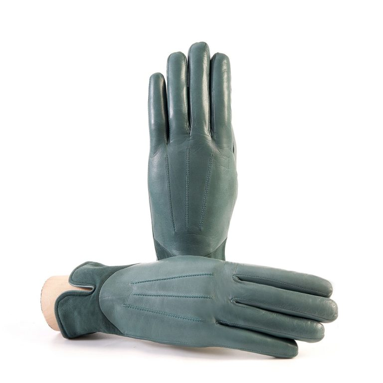 Women's green nappa leather gloves with suede panel insert on top cashmere lined