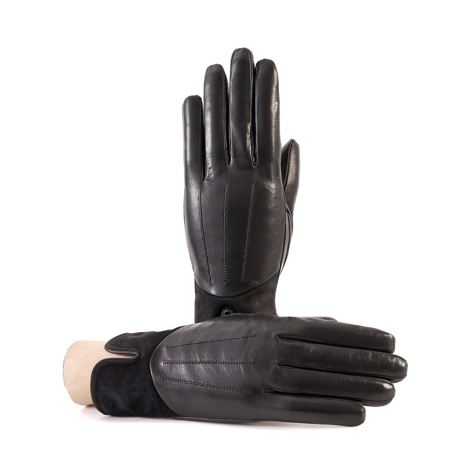 Women's black nappa leather gloves with suede panel insert on top cashmere lined
